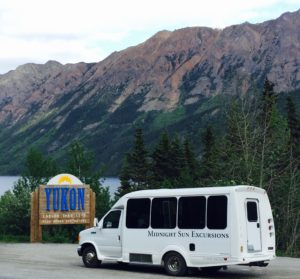 The bus at the Yukon border.